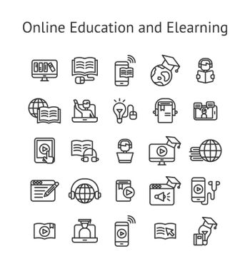 Online Education and Elearning outline icon set.
