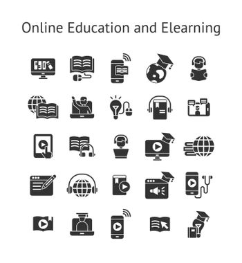 Online Education and Elearning solid icon set.