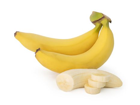 bunch of banana and banana slice isolated on the white background with clipping path