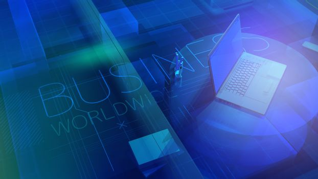3D background with laptop on Business Worldwide topic.