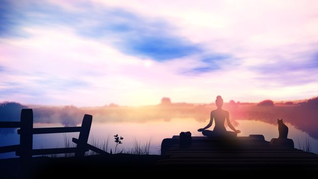 Meditation at dawn in nature and quiet lake.
