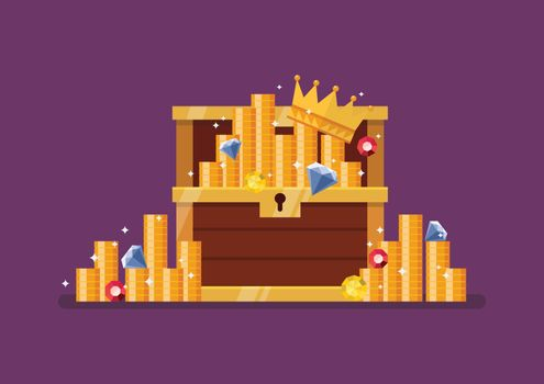 Wooden treasure chest with gold