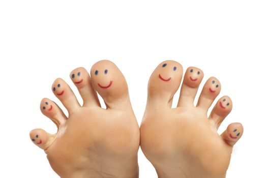Smiling female toes