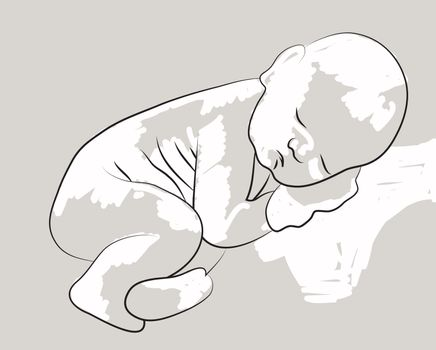 sleeping baby made in 2d software isolated on gray