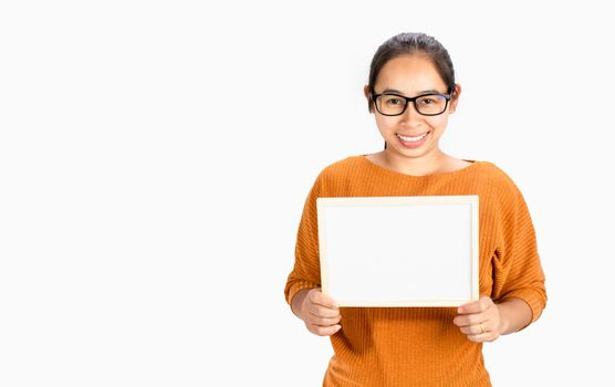 Happy face Asian woman holding blank white board for Copy Placed isolated on a white background.