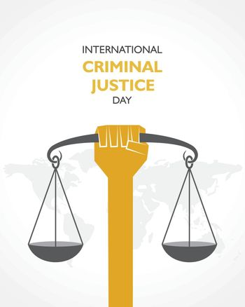 vector illustration for International Criminal Justice Day observed on 17th July , poster or banner design