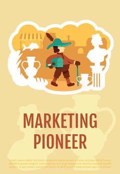 Marketing pioneer poster flat vector template
