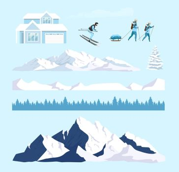 Winter nature cartoon vector objects set. Ski resort snowy mountains constructor. Skier and hills flat color illustrations collection. Forest lodge, snow peaks isolated pack on white background