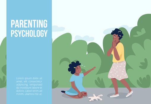 Parenting psychology banner flat vector template