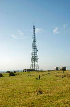 On Caradon Hill Cornwall UK. Communication masts.