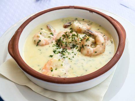 Ramekin of prawns with cream