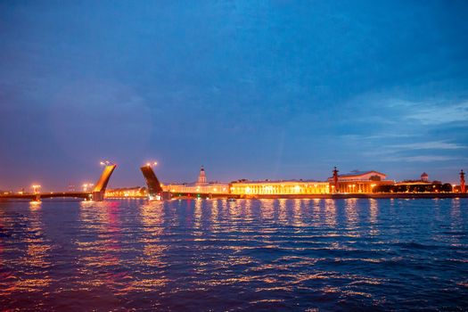 Famous of opening of Palace drawbridge in Russia