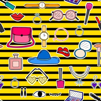 Accessories fashion seamless pattern background. Vector illustration.