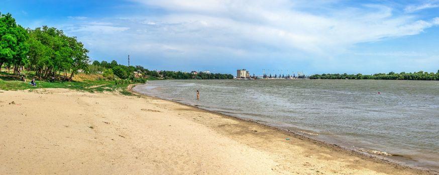 Izmail, Ukraine 06.07.2020. City Beach in the city of Izmail, Ukraine, on a sunny summer day