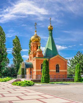 Izmail, Ukraine 06.07.2020. St Chapel of St Nicholas on the Embankment of Danube River in Izmail, Ukraine, on a sunny summer day