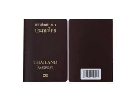 Thai passport front side and back side isolated on white background with clipping path. Passport , travel and immigration bureau concept