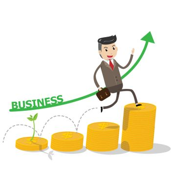 Financial growth success concept with happy businessman climbing on golden coins as step stair start from beginning till success. Business concept for growth success process. vector illustration EPS10.