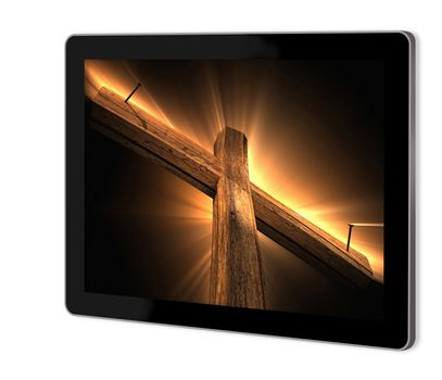 Wooden cross on screen of tablet  made in 3d software