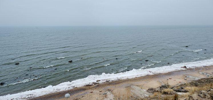 Panorama of Baltic sea at winter