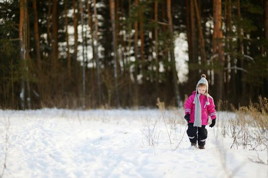 Adorable little girl at winter