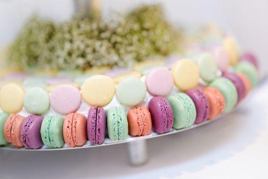 Traditional macarons on a glass cake stand