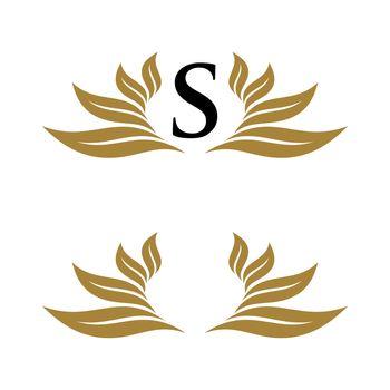 Initial Leaf Wreath Ornamental Logo Template Illustration Design. Vector EPS 10.