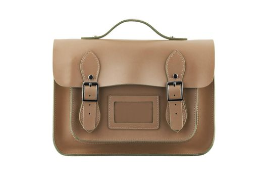 A brown School Satchel isolated on white with clipping path