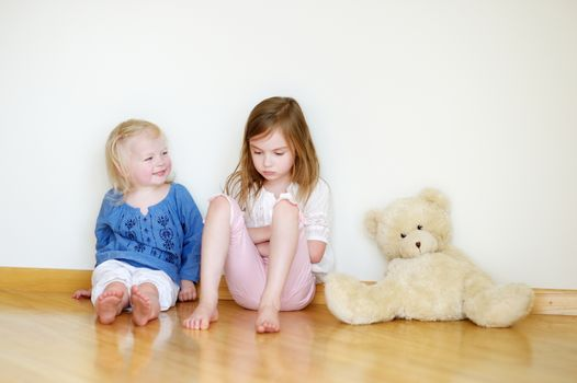 Two cute little sisters sitting on a floor with a teddy bear