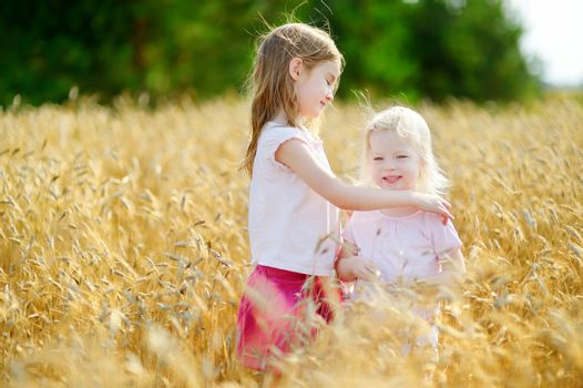 Two little sisters in wheat field on summer day