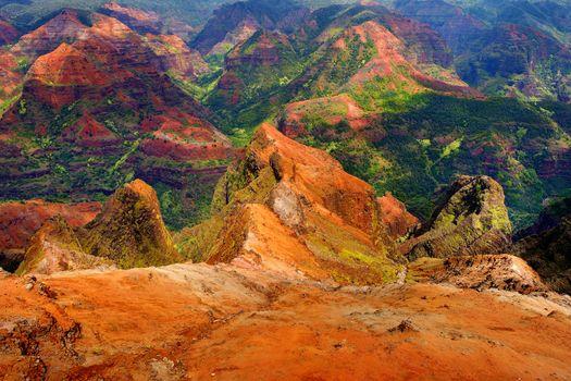 Stunning view into Waimea Canyon, Kauai, Hawaii