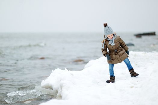 Adorable little girl by the sea on winter day