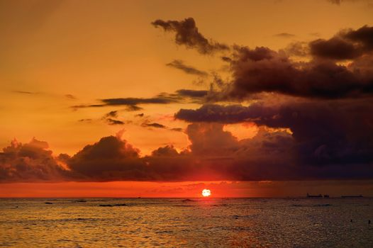 Beautiful sunset in Waikiki, Honolulu, Hawaii