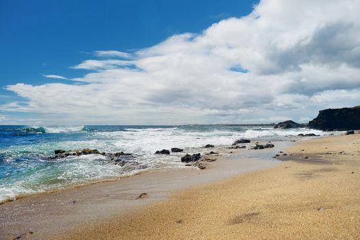 Stunning glass beach near Port Allen town on Kauai, Hawaii