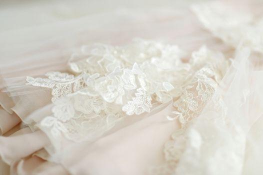 Beautiful wedding dress decoration close up