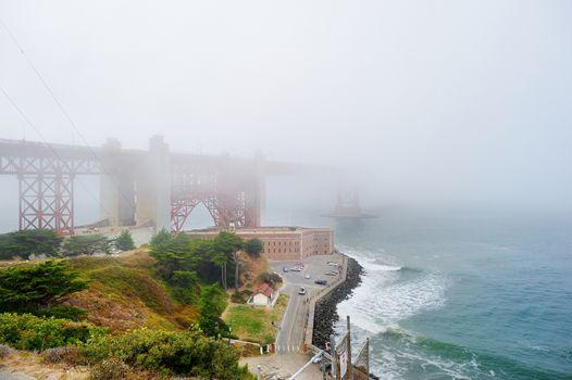 Golden Gate Bridge covered by fog