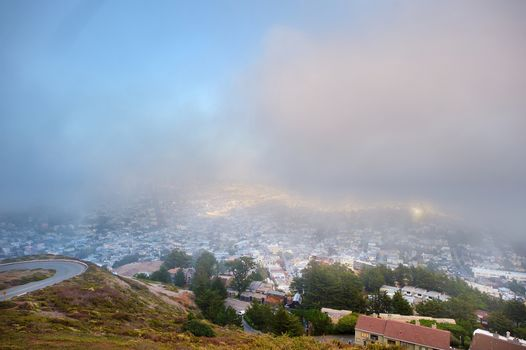 Beautiful misty view of downtown of San Francisco