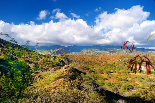 A trail to Diamond Head crater viewpoint on Oahu
