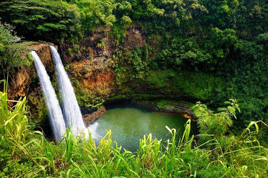 Twin Wailua waterfalls on Kauai, Hawaii