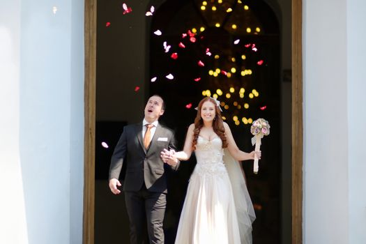 Just married couple under a rain of flower petals