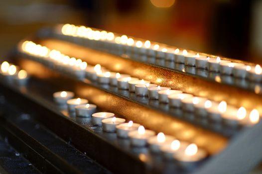 Church candles in a row