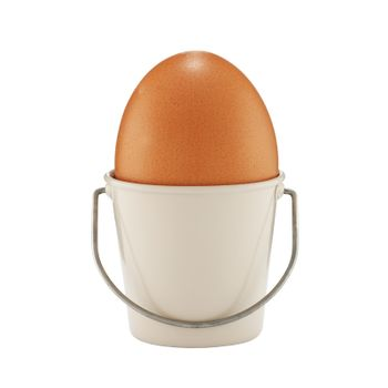An egg in a bucket shaped eggcup on white with clipping path