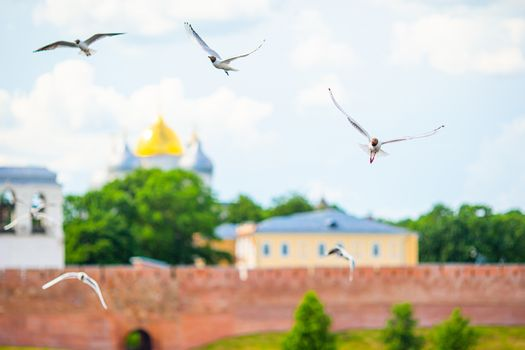 Veliky Novgorod, Russia. Novgorod Kremlin at Volkhov River