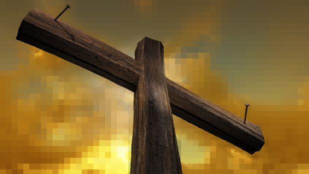 Wooden cross against the sky with shining rays