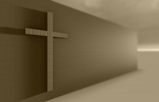 Cross on the wall made in 3d software