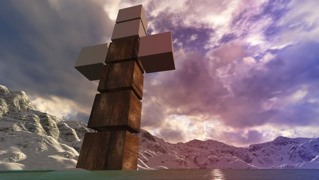 Wooden cross in water 1