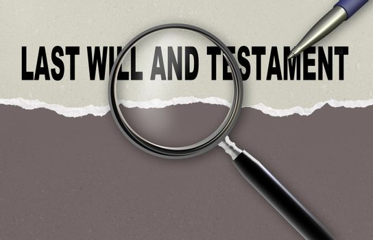 word last will and testament and magnifying glass with pencil made in 2d software