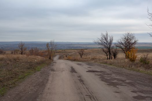 Autumn lanscape in the steppes with road