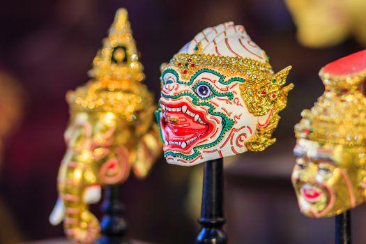 Beautiful Hanuman head, Khon mask, Art culture Thailand Dancing in masked Khon Hanuman in Literature Ramayana.