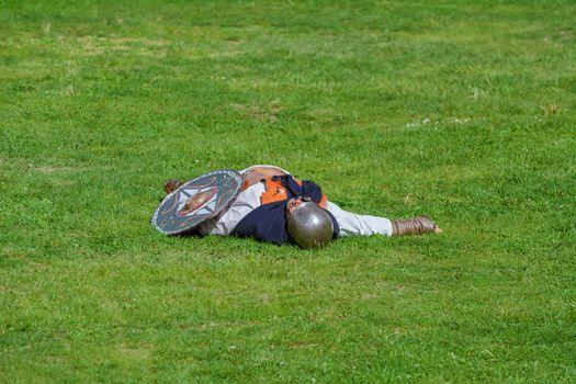 "Alba Iulia, Romania - May 04, 2019: Defeated Dacian Warrior on the Festival Roman Apulum ""Revolta"""