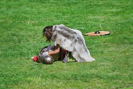 "Alba Iulia, Romania - May 04, 2019: Fight between Roman Legionary and Dacian Warrior During the Festival Roman Apulum ""Revolta""."
